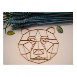 Tête d'ours origami 02057 embellissement en bois pour vos créations