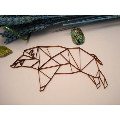 Sanglier origami 02051 embellissement en bois pour vos créations