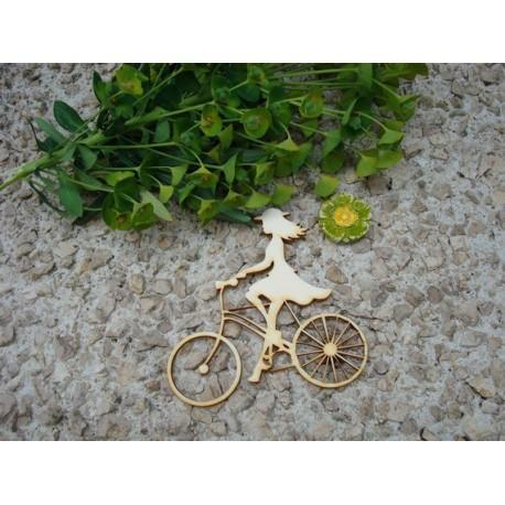 femme au vélo 02031 embellissement en bois pour vos créations