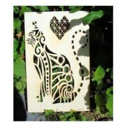 Chat 02068 bois 8 mm embellissement en bois pour vos créations
