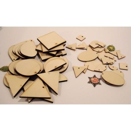 Lot Forme en 3 mm et 6 mm 2037 embellissement en bois pour vos créations