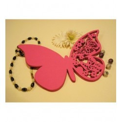 Papillon a message par 10 -1365a- papier rose fushia