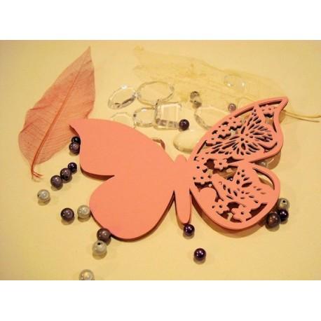Papillon a message par 10 -1365a- papier rose pale