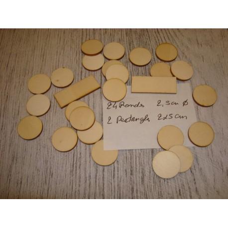 Lot rond et rectangle ba055 embellissement en bois pour vos créations