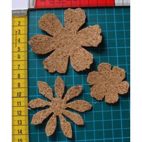 3 fleurs en liège 1551 embellissement en bois pour vos créations
