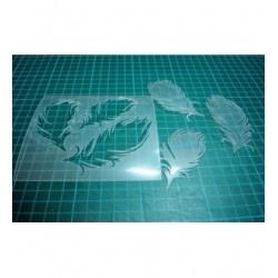 Pochoir plumes P0130 pour vos pages, vos cartes, vos murs