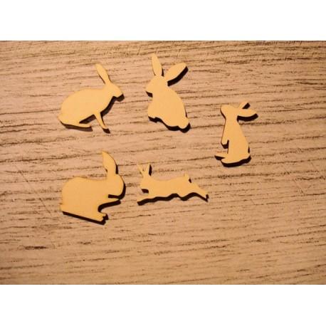 5 lapins 1192 embellissement en bois pour vos créations