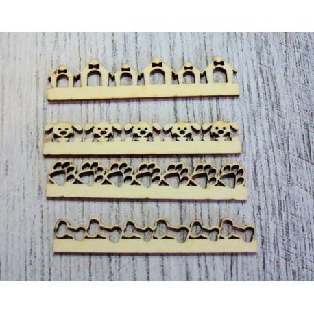 4 frises 1102 thème chien en bois pour vos créations