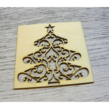 Carré Sapin de Noël 1039 une découpe en bois pour vos cartes