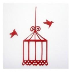 cage et ses oiseaux en plexi pour vos pages de scrapbooking