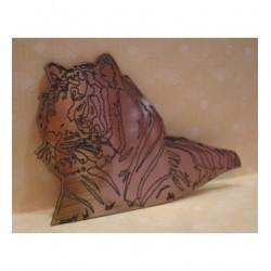 tigre 524 gravé sur un plexi de couleur or un embellissement pour le scrapbooking