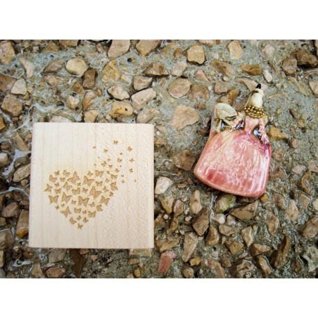 Tampon coeur de papillon TC258 5 x 5 cm