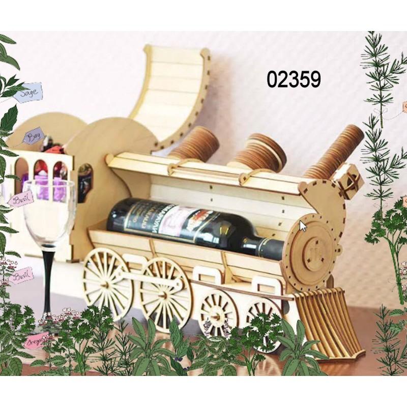 Porte bouteille train 02359 avec r serve bonbons d coration table - Porte bouteille de table ...