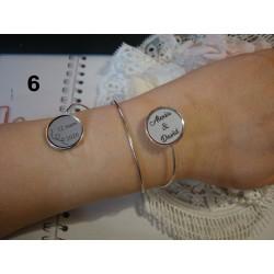 bracelet personnalisé 02514 texte ou dessin de votre choix-cadeau mariage, anniversaire, amitié