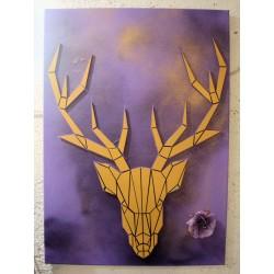 Peinture sur toile avec cerf en relief en bois