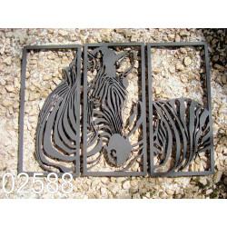 Zébre triptyque 02588 panneau bois collections décoration intérieur
